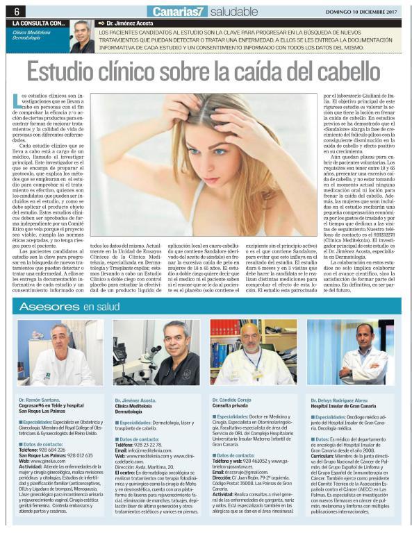 ESTUDIOS CLÍNICOS SOBRE CAÍDA DEL CABELLO, EN LA BÚSQUEDA DE MEJORAR TRATAMIENTOS Y RESULTADOS